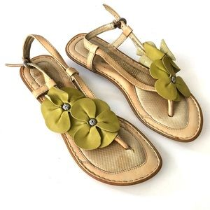 Born Leather Yellow Floral Sandals
